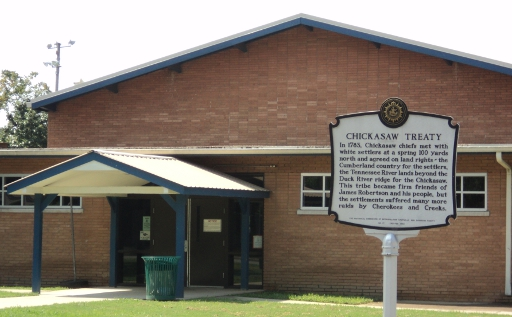 The Chickasaw Treaty marker stands in front of the West Park Community Center.