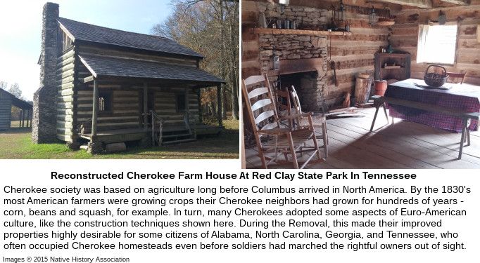 Reconstructed Cherokee Farm House At Red Clay State Park In Tennessee