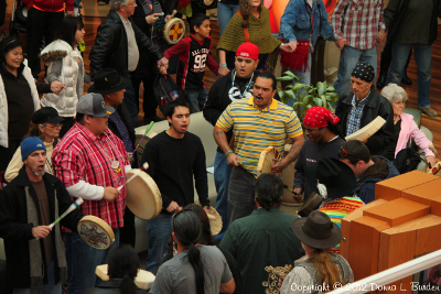 Jeff Hobbs and Joseph Cummins drum at Idle No More Event In Nashville, TN