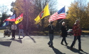 Color guard leading the Lawrenceburg Trail of Tears Memorial Walk.
