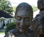 A detail of the statue showing the mother's face.