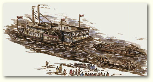 Steamboats, keelboats, and flatboats were used to transport some Cherokees by water