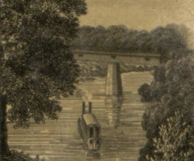 Detail of an illustration from an 1832 map of Tennessee by Matthew Rhea showing the 1823 Nashville Toll Bridge.