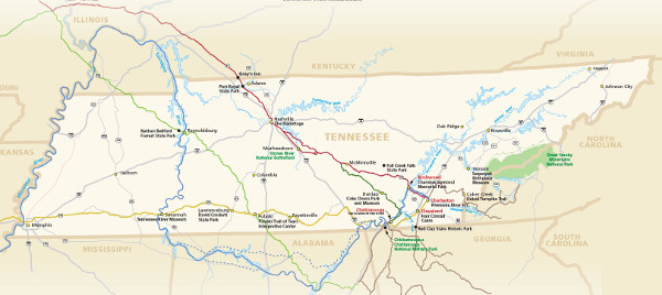 Trail of Tears National Historic Trail Routes In Tennessee